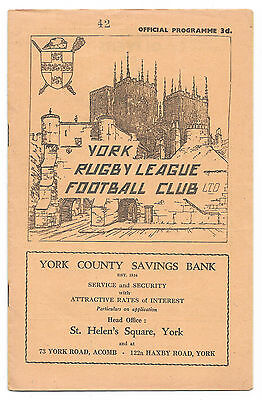York v Wakefield Trinity, 1958/59 - Northern League Match Programme.