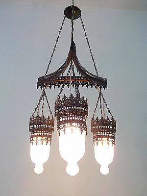BR135M (3 in 1) Art Deco Frosted White Glass Triple Lampshade Chandelier • CAD $207.90