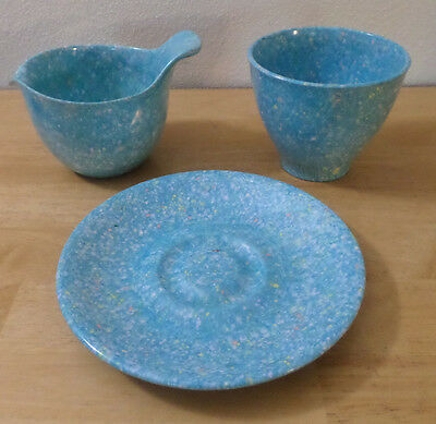 MELMAC Sugar Bowl and Creamer Set Turquoise Blue Spatter / Confetti