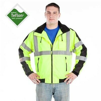 Utility Pro Men's High Visibility Class 3 Waterproof Jacket UHV575 Med-5X - NEW