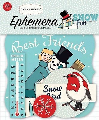 "Carta Bella ""snow Fun"" Ephemera Die Cuts  Winter Snowmen Scrapjack's Place"