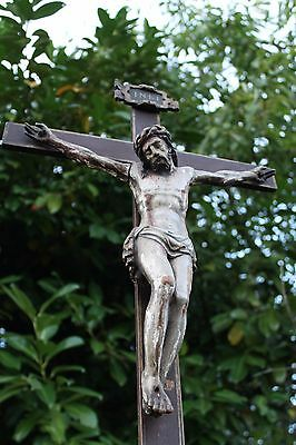 "19thC 34"" wood carved polychrome Corpus Crucifix Flemish • CAD $625.85"