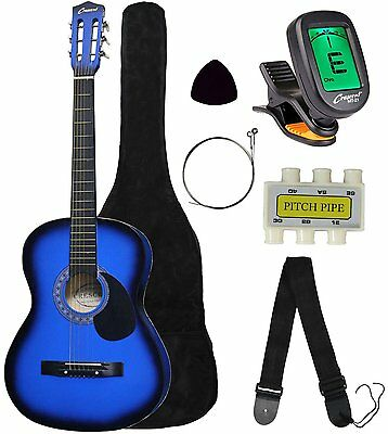 "Crescent MG38-BU 38"" Acoustic Guitar Starter Package, Blue Includes CrescentTM"