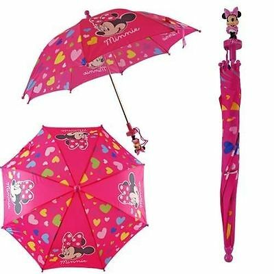 New Disney Minnie Mouse 3d Molded Handle Umbrella for Toddler Girl Kid Sized