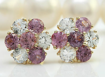 5.00CTW Natural Pink and White Sapphire in 14K Solid Yellow Gold Stud Earrings