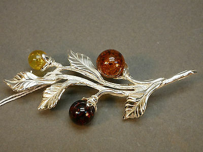 (.077) Brooch 925 Silver and Baltic Amber Russia