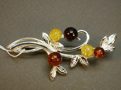 (.338) Brooch 925 Silver and Baltic Amber Russia