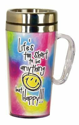 17223 Lifes To Short Be Happy Insulated Travel Mug Cup Coffee Tea