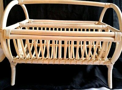 Vintage Footed  Magazine Rack Stand Cane Bamboo Bent Wood Rattan Art Deco