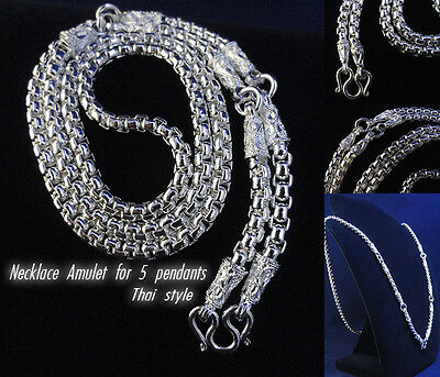 """Thai Amulet Necklace Nice style 26"""" white brass with silver plate For 5 Pendants"""