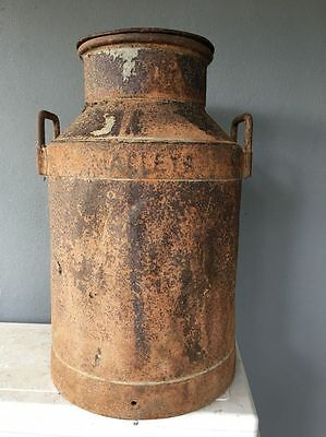 VINTAGE MILK CHURN Metal Industrial Can with LID MALLEYS Original Authentic