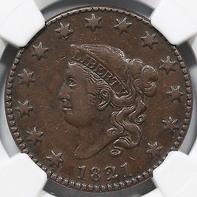 1821 N-1 NGC VF 30 Matron or Coronet Head Large Cent Coin 1c