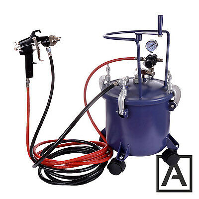 10ltr Pressure Tank with Air Regulator Paint Pot Spray Gun 2,0mm + AGITATOR
