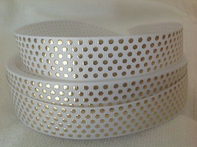 Dots Gold 23mm Grosgrain  Ribbon  3 Meters Length  HairBows Craft Scrapbook