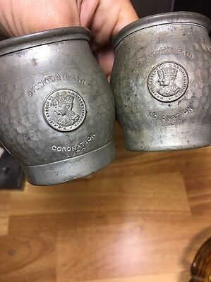 Antique Pewter Cup Set. Abbey Pewter ..dated 1937.. Stockton Heath Coronation