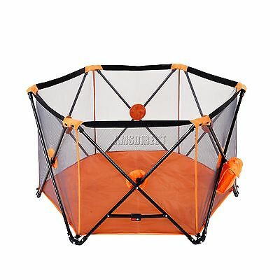 FoxHunter Portable Baby Pop Up Playpen Play Pen Yard With Fitted Playmat Orange