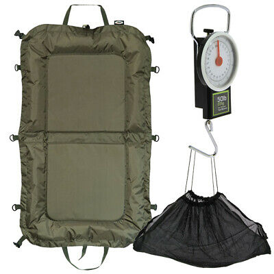 Carp Fishing Care Set Folding Beanie Unhooking Mat With Weighing Sling Scale NGT