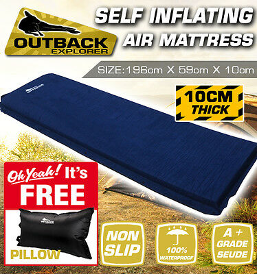Air Bed Self Inflating Mattress Inflatable Camping Mat 10cm Thick + PILLOW