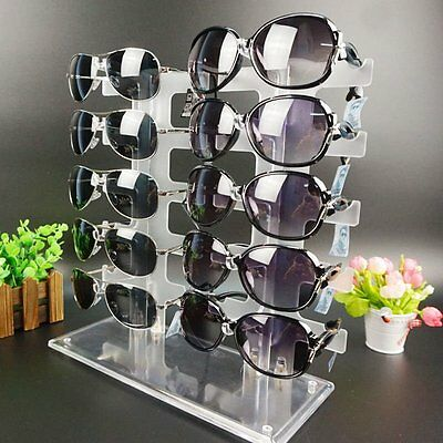 New Durable 2 Row 10 Pairs Sunglasses Glasses Rack Holder Frame Display Stand SR