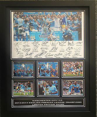 Manchester City 2013/14 Epl Winners Signed Limited Edition Framed Memorabilia