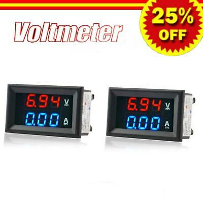 2X Mini Red Blue Green LED DC 0-100V Voltmeter Gauge Voltage Volt Panel Meter BY