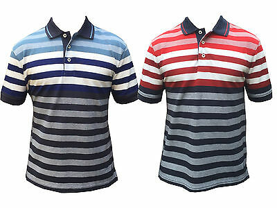 Mens Ex Marks & Spencer Blue Harbour Striped Polo Tailored Fit Pure Cotton M&5