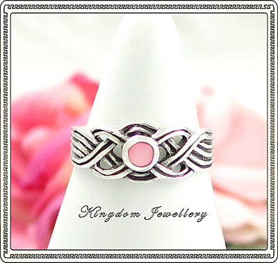 925 Sterling Silver Celtic Design Pink Shell Toe Ring