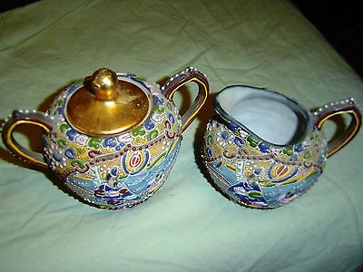 VINTAGE  SUGAR and CREAMER WITH HAND PAINTED ORIENTAL