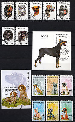 Dog stamps. Full sets. Tanzania 1993. Guinea 1996. Cancelled to order