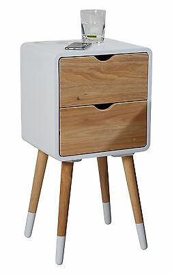 Bedside Table Night Stand White - 2 Drawers - vintage retro chic Side Telephone