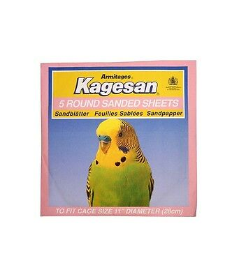 "Kagesan 2 x 5 Pack Round Bird Cage Sanded Sheets To Fit Cage 11"" (28cm) #31L69"
