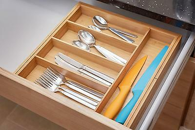 Andrew James Extending / Expandable Bamboo Wood Cutlery Tray Kitchen Drawer Tidy