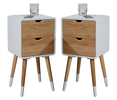 2x Bedside Table Night Stand White - 2 Drawers vintage retro chic Side Telephone