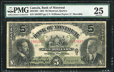 5055404 1914 $5 Montreal, Quebec Canada, Bank Of Montreal Pmg Vf-25