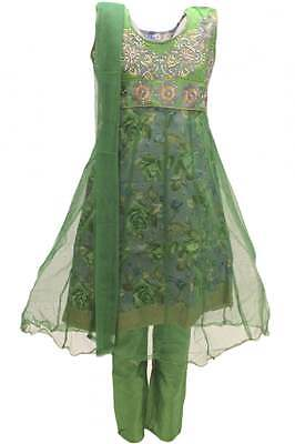 GCS3104 Green and Gold Girl's Churidar Suit Indian Bollywood Fancy