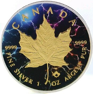 2016 1 Oz Canadian Silver Maple Leaf Coin .9999 Electromagnetic Gold Gilded..