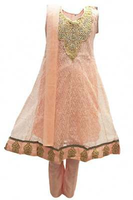 GCS3113 Light Coral and Gold Girl's Churidar Suit Indian Bollywood Fancy Dress