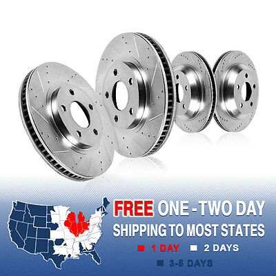 Front & Rear Drilled And Slotted Brake Rotors 2008 2009 Pontiac G8 V6