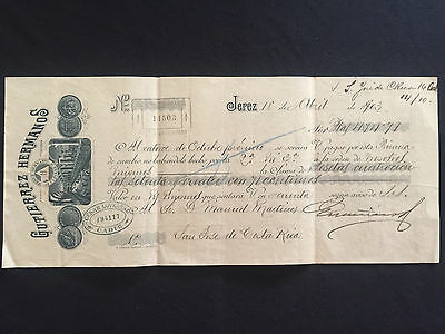 Spain: Costa Rica 1903 First Letter Of Exchange - 474.41 Ptas.
