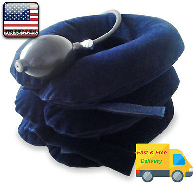 Cervical Traction Neck Device Brace Support Inflatable Air Pillow Shoulder Pain