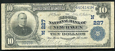 1902 $10 The Second National Bank Of New Haven, Ct Charter #227