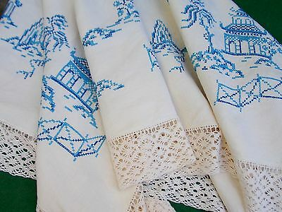 "Vintage Hand Embroidered Linen 53"" x 51"" Pretty Oriental Detail Tablecloth"