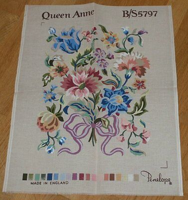 """VINTAGE PENELOPE QUEEN ANNE PRINTED TAPESTRY CANVAS B/S 5797  19"""" x 15"""""""
