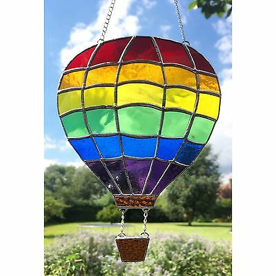 HANDMADE Stained Glass Hot Air Balloon Suncatcher Rainbow Glass