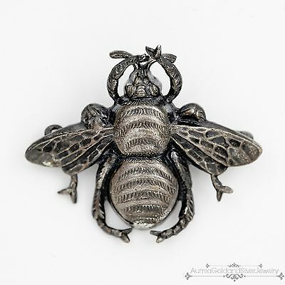 Antique Vintage Art Nouveau Sterling Silver Repousse Organic Bee Brooch Pin!