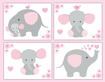 Pink Grey Gray Elephant Nursery Baby Girl Wall Art Prints Jungle Safari Animals