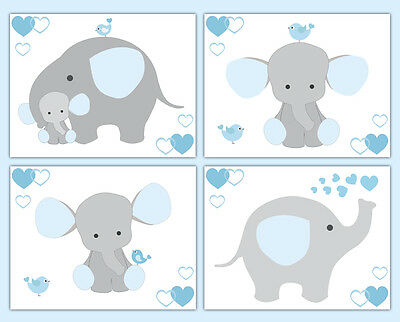 Blue Grey Gray Elephant Nursery Baby Boy Wall Art Prints Jungle Safari Animals