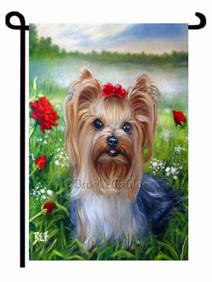 YORKIE painting GARDEN FLAG landscape flag Yorkshire Terrier Dog ART with Roses