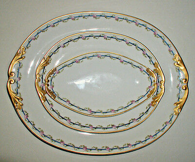 Set of Vintage Limoges Porcelain Platters and Condiment Tray by M. Redon
