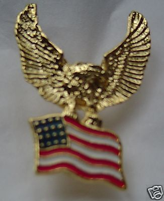 Gold eagle with flag pin, USA made